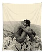 Study Of A Male Nude On A Rock In Taormina Sicily Tapestry
