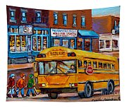 St.viateur Bagel And School Bus Montreal Urban City Scene Tapestry