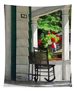 Suburbs - Porch With Rocking Chair And Geraniums Tapestry