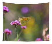Sulphur Butterfly On Verbena Flower Tapestry