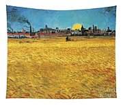 Summer Evening Wheat Field At Sunset Tapestry