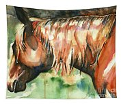Horse Painting In Watercolor Summer Horse Tapestry