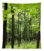 Summer's Green Forest Abstract Tapestry