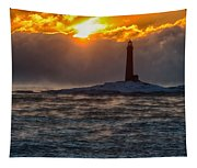 Sun Climbing Over Thacher Island Lighthouse Tapestry