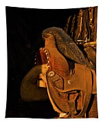 Sun On Leather Horse Saddle In Tack Room Equestrian Fine Art Photography Print Tapestry