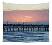 Sun Over Crowed Pier Tapestry