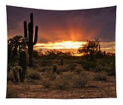 Sun Rays Over The Sonoran Desert  Tapestry