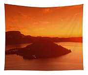 Sun Rising Over Crater Lake National Tapestry