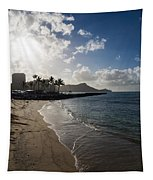 Sun Sand And Waves - Waikiki Honolulu Hawaii Tapestry