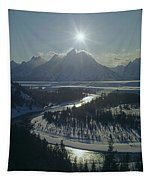 1m9313-sunburst Over Grand Teton, Wy Tapestry