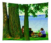 Sunday Picnic On The Lake Maple Trees At The Canal Pte Claire Montreal Waterscene Carole Spandau Tapestry
