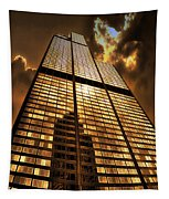 Sundown At Willis Sears Tower Tapestry