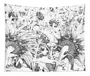 Sunflower Drawing Tapestry