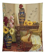 Sunflowers And Hollyhocks Tapestry