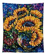Sunflowers Bouquet In Vase Tapestry