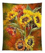 Sunflowers In Sunflower Vase - Square Tapestry