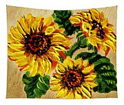 Sunflowers On Wooden Board Tapestry