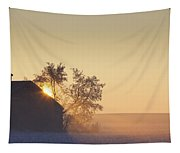 Sunlight Shining Behind A House In A Tapestry