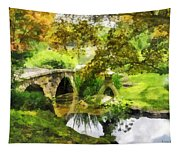 Sunlit Bridge In Park Tapestry