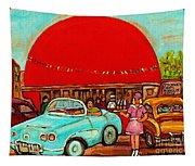 Sunny Day At The Big Orange Julep  Montreal Road Side Diner Carole Spandau Tapestry