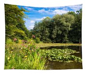 Sunny Summer Day At The Lake Beautiful Green And Blue Colors Tapestry