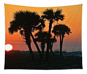 Sunrise And Group Of Palm Trees Tapestry