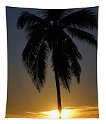 Sunrise And Palm Tree Tapestry