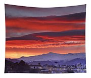 Sunrise Over Granada And The Alhambra Castle Tapestry