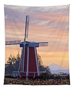 Sunrise Over Wooden Shoe Tulip Farm And Tapestry