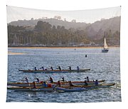 Sunset Activity At The Harbor Tapestry