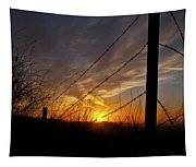 Sunset Along The Fence Yellow Red Orange Fine Art Photography Print  Tapestry