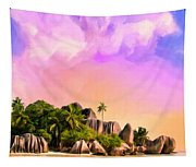 Sunset At Anse Source Argent Seychelles Tapestry