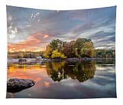 Sunset At Cambridge Reservoir Tapestry