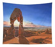 Sunset At Delicate Arch Utah Tapestry