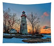 Sunset At Marblehead Lighthouse Tapestry