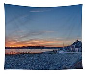 Sunset At Scituate Light Tapestry