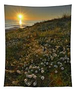 Sunset At The Beach  White Flowers On The Sand Tapestry
