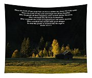 Sunset At The Cabin With Scripture Tapestry