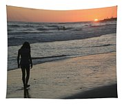 Sunset Beach Silhouette Tapestry