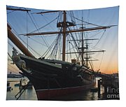 Sunset Behind Hms Warrior Tapestry
