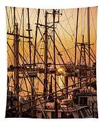 Sunset Boat Masts At Dock Morro Bay Marina Fine Art Photography Print Sale Tapestry