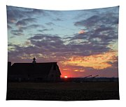 Sunset By The Barn Tapestry