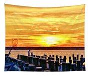 Sunset By The Dock Tapestry