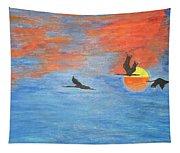 Sunset Cranes Tapestry