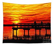 Sunset Fishing At The Pier Tapestry