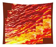 Sunset In Desert Abstract Collage  Tapestry