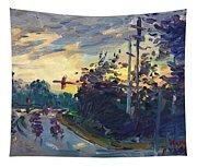 Sunset In Military Highway Norfolk Va Tapestry