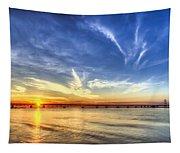 Sunset Mackinac Bridge Tapestry