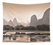 Sunset On Li River Tapestry