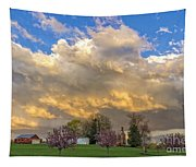 Sunset On Mixed Clouds Tapestry